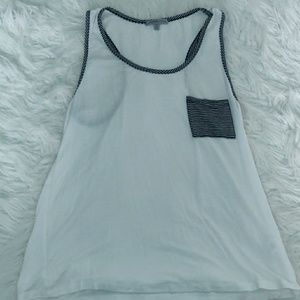 White and Navy blue striped tank top